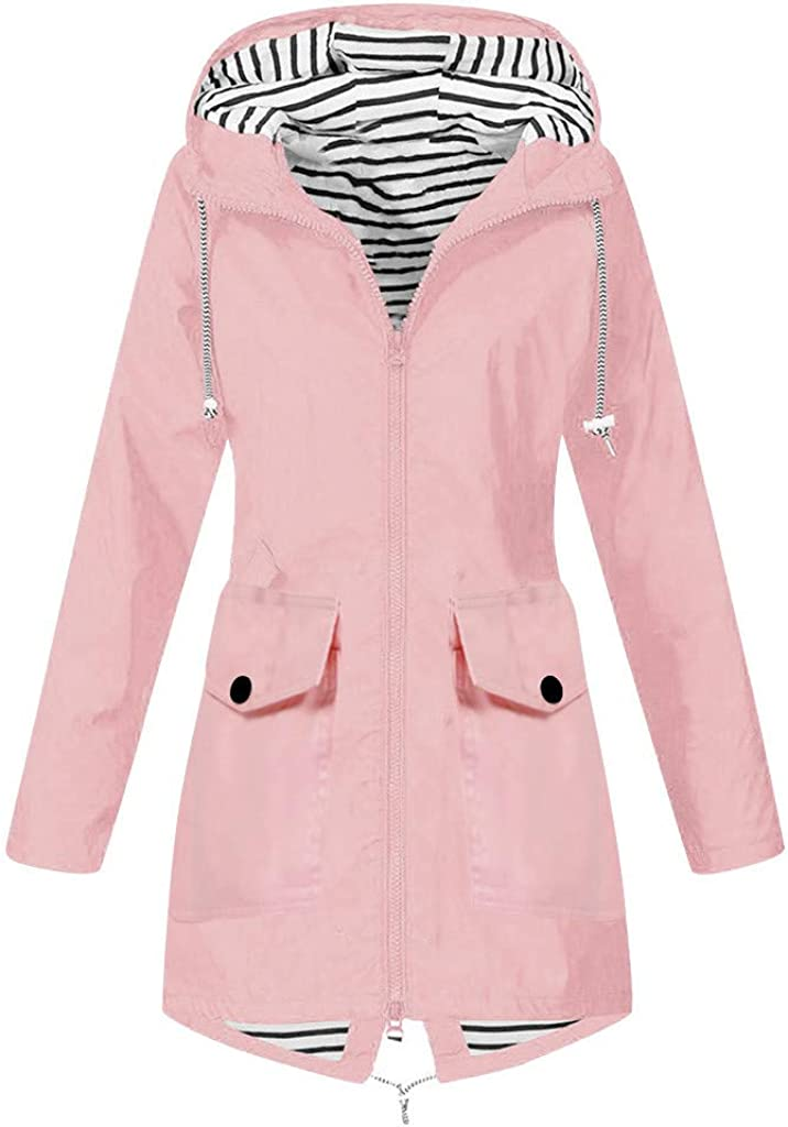 Plus Size Rain Jackets Windbreaker Waterproof Women, NRUTUP Winter Jacket Outdoor Hooded Coat Warm Overcoat Ladies (Pink4, 16)