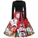 Fenverk Frauen Weihnachten Drucken äRmellos Rundhals Party Panel Kleid Weihnachtenkleid Damen Elegant Abendkleid Vintage Mesh Brautkleid Retro Cocktailkleid Rockabilly Minikleid Kleidung(Rot 1,2XL)