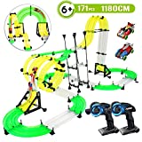 RC Car Racing Track Toys - 171pcs 38.7ft Double Rail Car Race Track Set, Build Your Own 3D Super Track Car Playset, 2 Cars, 2 Hand-Operated Controllers, DIY Assembly Toys for Party Game Kids Friends