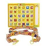 Kinderspielblöcke Aufreihmaterial for Kleinkinder Educational Stringing Toy-Large Holzbuchstaben und Zahl-Blöcke 30 Stück Große Schnürsystem Bead Set for Kinder Für Kleinkinder Kinder Mädchen & Jungen