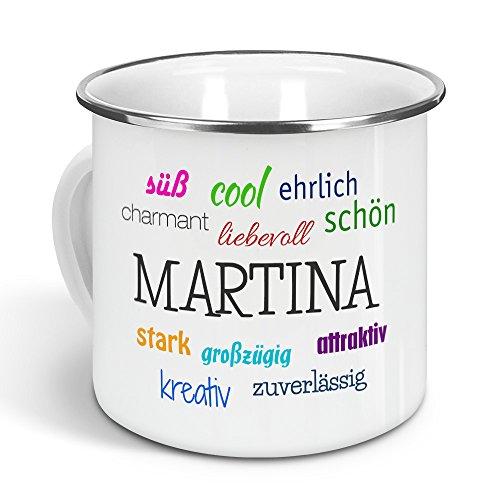 printplanet - Emaille-Tasse mit Namen Martina - Metallbecher mit Design Positive Eigenschaften - Nostalgie-Becher, Camping-Tasse, Blechtasse, Farbe Silber, 300ml