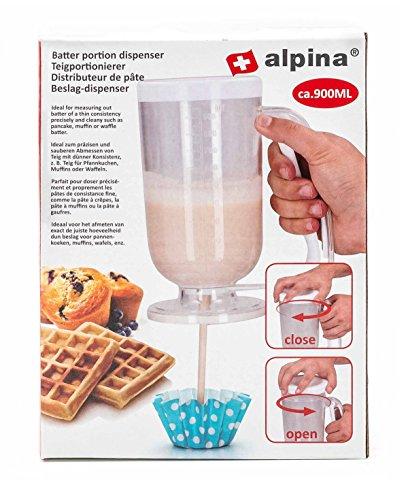 Alpina! Teigportionierer für Pancakes, Muffins, Poffertjes, Crepes und Waffeln, mit Skala, große Einfüll-Öffnung, Einhand-Bedienung, Volumen ca. 900 ml