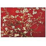 wwqtdf Flor de Almendro laminada roja de Vincent Van Gogh Pintura en Lienzo Arte de la Pared Carteles Impresión en HD para la decoración del hogar de la Sala de Estar -50x75CM sin Marco