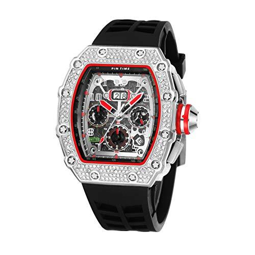 xiaoxioaguo Cool reloj deportivo de los hombres cronógrafo diamante reloj de los hombres de la marca superior de lujo militar reloj de oro