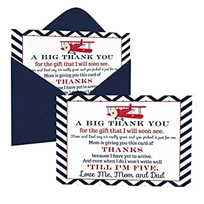 Airplane Baby Shower Thank You Cards with Envelopes (15 Pack) Landing Soon Theme Supplies Red, White and Blue – Thanks from Baby Boy - A6 Flat Stationery Set Printed (4 X 6 inches) Paper Clever Party from Paper Clever Party