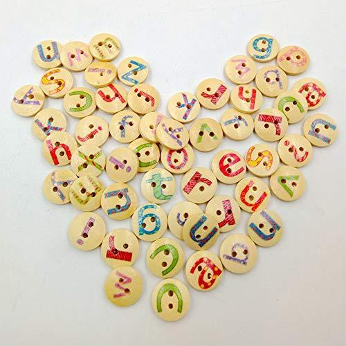 Konrisa 100pcs Botones de Costura para Ropa de bebé 15mm 2 Hoyos Pequeños Botones de Madera para Manualidades Hecho a Mano 26 letras Alfabeto Botones de Enseñanza Children DIY Manual Painting