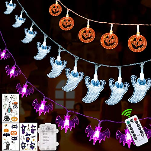 Halloween Decorations Halloween Lights Outdoor,8 Lighting Modes Set of 3 Battery Operated Orange Pumpkins Bats Ghosts 30 LEDs Each for Halloween Party Decoration Outdoor Indoor with Remote Control