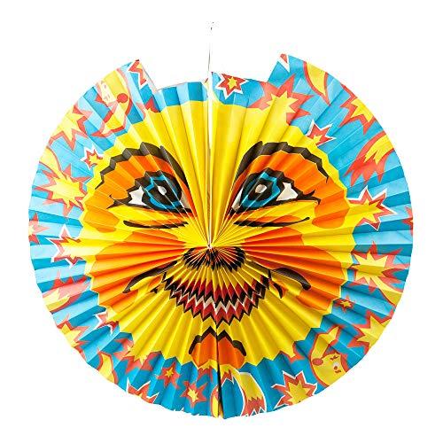 Idena 8312516 - Laterne Sonne, Durchmesser 46 cm, Papier, Lampion, St. Martin, Lichterfest, Laternenumzug, Advent, Weihnachten, Dekoration