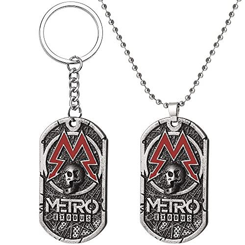 AMOZ 2Pcs Pc Spiel Metro Exodus 2033 Halskette Hundemarke Anhänger Leder Metallkette Männer Halsketten Charme Geschenke Für Kinder Spiele Schmuck