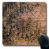 Mousepads Rosette Art Vintage Grunge Damask Pattern On Renaissance Grungy Dark Salmon Olive Brown Blue Colors Oblong Shape 7.9 x 9.5 Inches Oblong Gaming Mouse Pad Non-Slip Mouse Mat