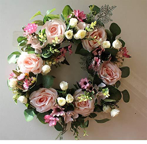 Rose flower simulation garland 42 cm/16.54 inch Halloween garland rattan artificial door garland, home decoration, Christmas, Thanksgiving, decoration flower ring (ORANGE)