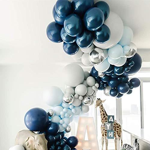 Globos de color azul, plateado y blanco pastel, globos metálicos plateados para niños, decoración de cumpleaños infantil, fiesta de bebé, boda, cumpleaños, bautizo, fiesta