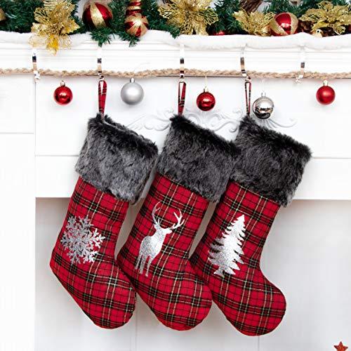 Beyond Your Thoughts 2020 Nikolausstiefel zum Befüllen 3er Set Nikolausstrumpf Weihnachtsstrumpf Kamin Christmas Stockings Groß für Kinder Familien Rentier Weihnachtsmann Schnee