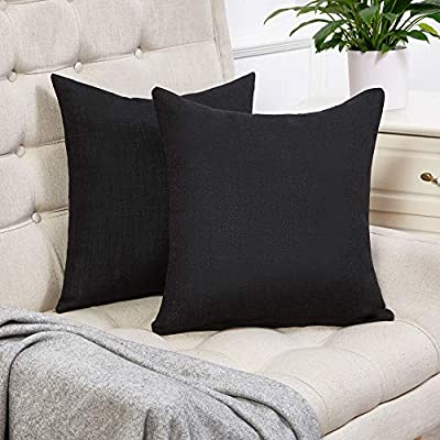 Anickal Set of 2 Solid Cotton Linen Decorative Throw Pillow Covers for Sofa Couch Decor
