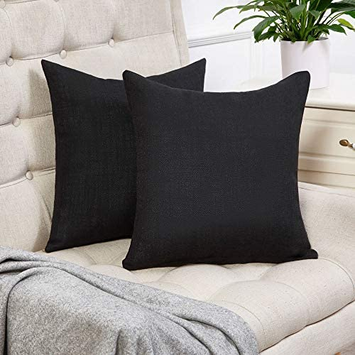 Anickal Black Pillow Covers Set of 2 Cotton Linen Decorative Square Throw Pillow Covers 18x18 product image