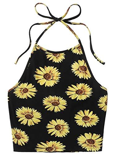 Romwe Women's Sunflower Print Casual Cute Sleeveless Vest Halter Cami Crop Top Multicolore S