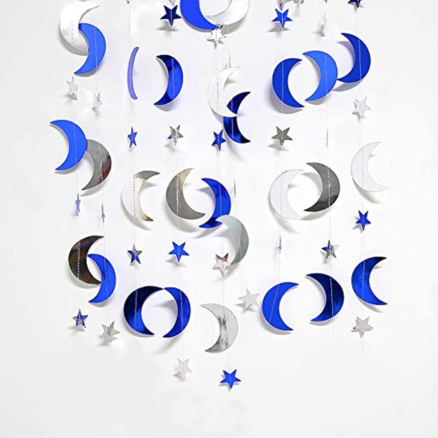 Reflective Glitter Star and Moon Garland Kit Star Garands/Streamers/Bunting Banner for Party Hanging Decoration … (Blue Star Moon Garland Kit)