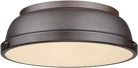 Golden Lighting 3602-14 RBZ Duncan Flush Mount - Damp, Rubbed Bronze
