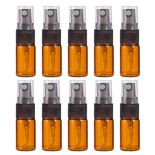 Solustre 10 Stück Sprühflasche 3ml Braun Glas Spray Flaschen Mini Fein Nebel Spray Mini Feinnebel Zerstäuber für ätherische Öle Aroma chemische Flüssigkeit
