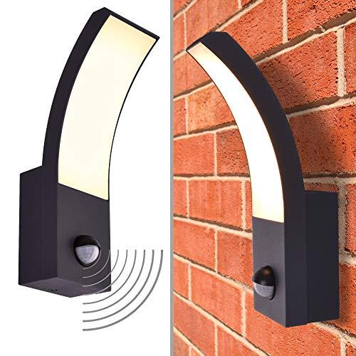 LED Aussenleuchte Wandleuchte mit Bewegungsmelder warmweiß 3000K Fluter 9W IP54 schwarz modern ONYX - 411A1