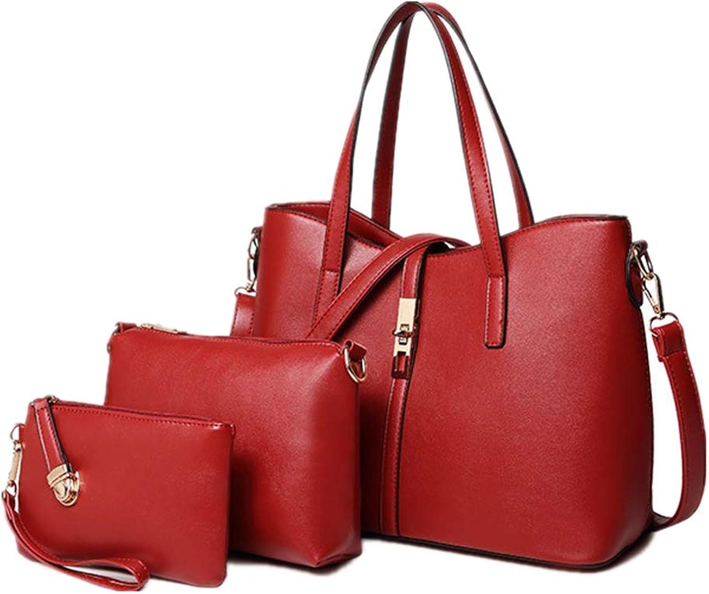 NZZNB Fashion Handbag Soft Leather Pearl Surface Handbag Classic Retro Multi-Pocket Large Capacity Shoulder Bag Satchel Tote Purse Card Package 4Pcs Top-Handle Handbags