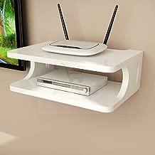 Kundi Wooden Floating Shelf Wall-Mounted TV Cabinet Shelf TV Console Router Shelf DVD Set-top Box Telephone Storage Rack (White)