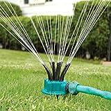 QYHSS Multifunktions Rasensprinkler, 360-Grad-automatische Kunststoff Sprinkler, 12 Düsen, 360 Grad drehbar Sprühdüse Rasen, für Garten Rasen Bewässerung