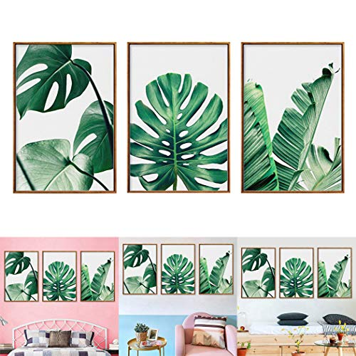 JUSTDOLIFE 3 Piezas Pintura Mural Conjunto Hojas Fotos De La Pared Que Cuelga para La Decoración De La Pared