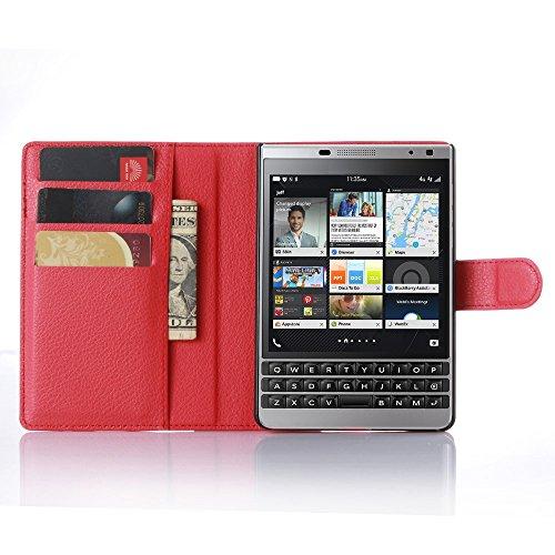 Tasche für BlackBerry Passport Silver Edition Hülle, Ycloud PU Ledertasche Flip Cover Wallet Case Handyhülle mit Stand Function Credit Card Slots Bookstyle Purse Design rote