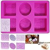 NANASO Silikon-Seifenform,6 Kavitäten gemischte Muster Seife Machen liefert rechteckig und...
