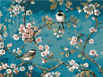Lege DIY schilderen op cijfers voor volwassenen, zout, vogels op de tak, schilderset voor beginners, nieuw schilderwerk, 40 x 50 cm, zonder lijst