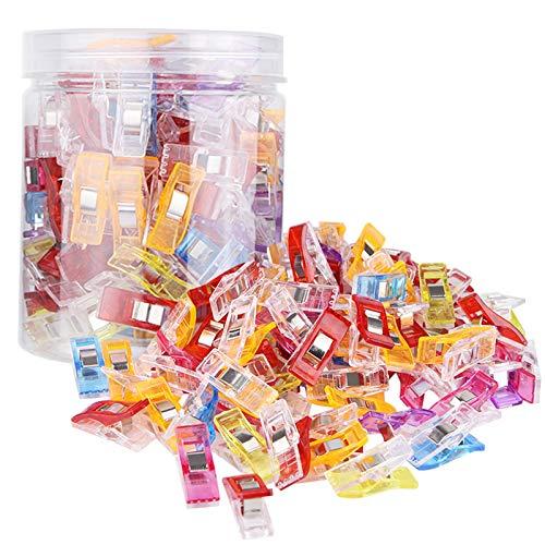 Tonsooze Nähen Clips, 100 Stück Kunststoff Clips Nähen Zubehöre Stoffklammern Quilting Clips, Häkeln, Bastelklammern, Klammern
