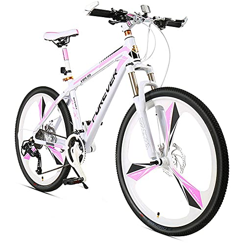 NZKW Women Hardtail Mountain Bike 26 Inch 24 Speed, Anti-Slip Adult Girls Mountain Bicycle with Front Suspension & Mechanical Disc Brakes, High Carbon Steel & Adjustable Seat,Pink,3 Spoke