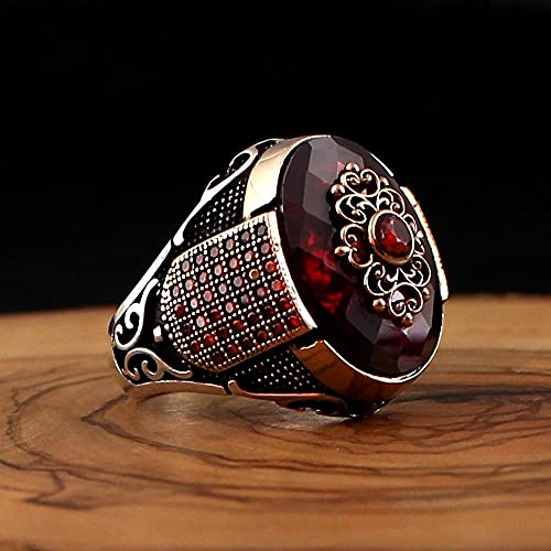 KEJI Real 925 anillo de plata para los hombres rojo natural circón piedra joyería moda vintage regalo Aqeq ónix Accesorios para hombre