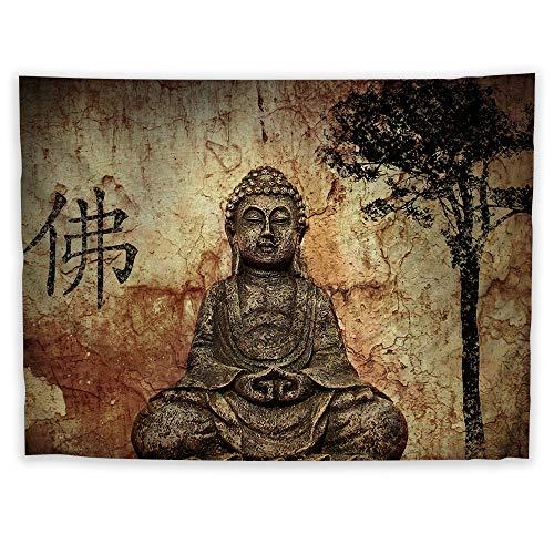 JackGo7 Buda Religión Tapiz Arte para colgar en la pared Sofá cama cubierta Mural Playa Manta Hogar Dormitorio Habitación Decoración Regalo, 60X45inch/150x113cm