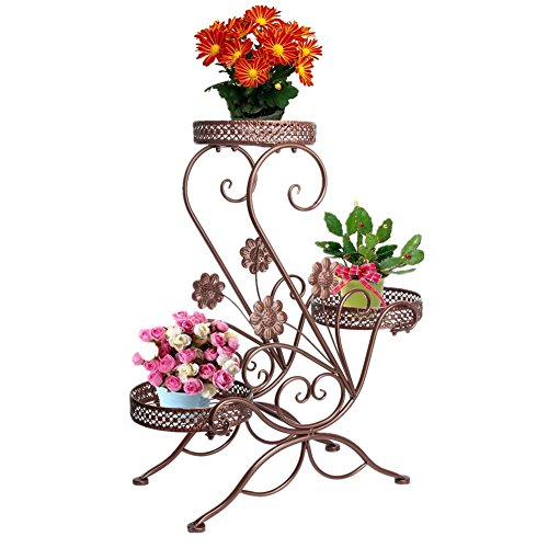 3-Tiered Scroll Classic Plant Stand Indoor Metal Plant Pot Stand Outdoor Decorative Garden Patio Standing Flower Rack Shelf Hold 3 Pots with Modern'S' Design (Bronze)