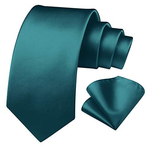 Enlision Corbata cuadrada de color verde azulado y corbata cuadrada de bolsillo para hombres