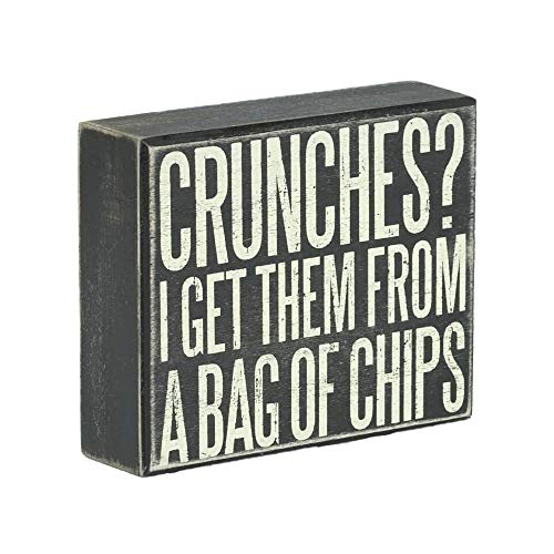 JennyGems -Crunches? I Get Them from A Bag of Chips - Funny Signs - Man Cave Decor - Bar, Garage, Basement Signs - Happy Hour Decor - Gifts for Dad