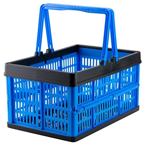 Grizzly Klappbox mit Griff - faltbar aus Kunststoff - Einkaufskiste klappbar und stapelbar 16L blau