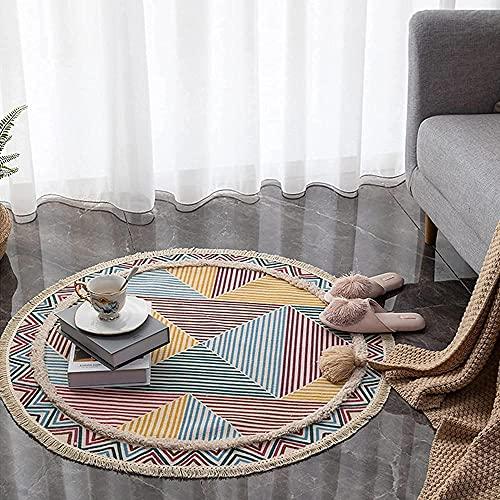 Alfombra Redonda de algodón con Borla Alfombra Mandala Tejida, Sala de Estar/Dormitorio/Estudio/Alfombras de Mesa de Centro, diámetro -Blanco, Blanca_Ø 90 cm Rund