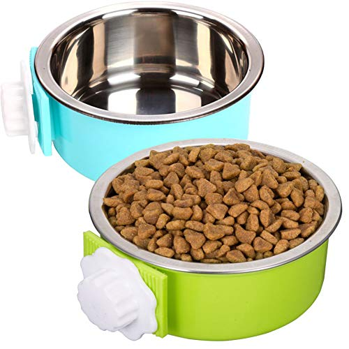 ZYYRT Crate Dog Bowl Set Removable Stainless Steel Hanging Cat Cage Bowl Food & Water Feeder Coop Cupsfor Puppy, Birds, Rats, Guinea Pigs (2 Pack, Blue and Green)