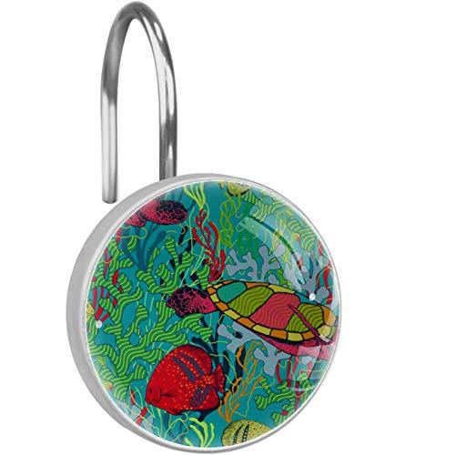 AITAI Ganchos para cortina de ducha, diseño de tortuga de mar, colores a prueba de óxido, 12 unidades