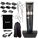 BuySShow Quiet Professional Hair Clippers Set Cordless Rechargeable Hair clippers for Men and Babies with Charging Dock, 8 Comb Guides, 2 Scissors