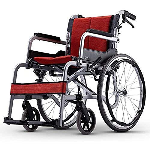 CANDYANA Rollstühle Mit Begleitantrieb Und Klappbarer Rückenlehne, Tragbare Klappbare Rollstühle Aluminiumlegierungsrahmen Kompakter Mobilitätshilfe-Rollstuhl