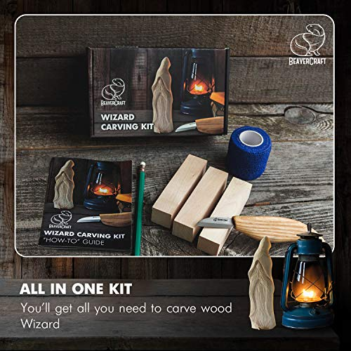 BeaverCraft, Beginners Wood Carving Whittling Kit - Hobby DIY Wood Craft Set for Adults and Teens - Whittling Knife Kit with Wood Blocks - Wood Carving Tools Kit - Woodworking Carving Kit DIY03 Wizard