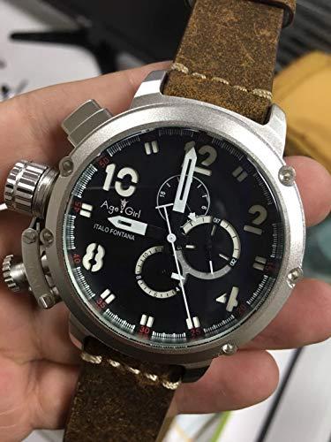 DAGEGIRL Nagelneue Mann-automatische mechanische Uhr-Schwarz-Silber-Rosen-Goldboots-Edelstahl-Brown-Leder-Sport-50mmUhren für U3