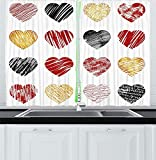 FAFANIQ Romance Kitchen Curtains, Hand Drawn of Heart Love Valentines Wedding Theme Print, Window Drapes 2 Panel Set for Kitchen Cafe Decor, Pale Coffee Black Red,57 * 47 Inch
