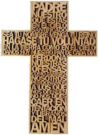 Spanish Wood Christian Wall Cross Art Decor Hand Made The Lord s Prayer Bible Faith Sign Decorative product image