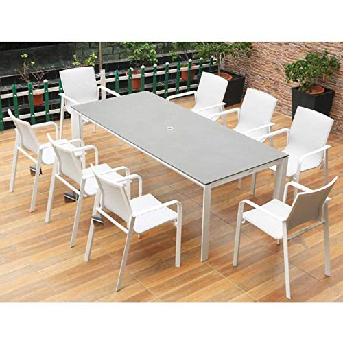 Harrier Luxury Outdoor Dining Set - White & Grey Outdoor Furniture | 3 Size Options - 4/8 Seater | Durable Aluminium Garden Furniture Sets | No Assembly Required (Large Table (220x100cm) - 8x Seats)