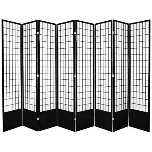 Hot Sale Oriental Furniture Window Pane 7-Feet Tall Shoji Screen -Black 8 panel, B
